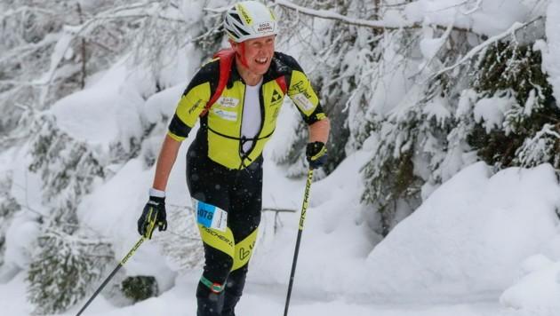 Optisch nicht viel verändert: Aber statt auf Langlaufskiern quält sich Christian Hoffmann nun beim Skibergsteigen. (Bild: David Geieregger)