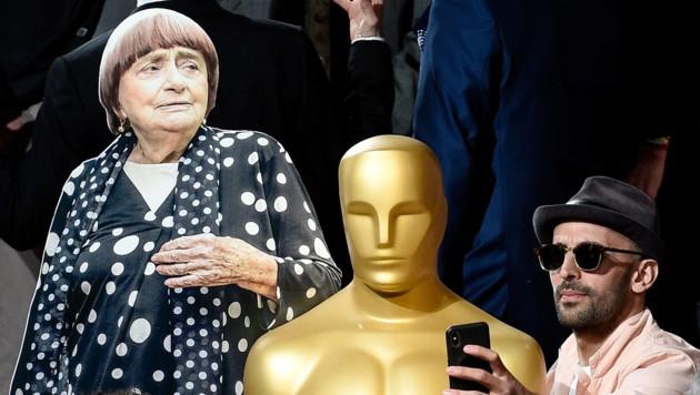 """Filmer JR macht ein Selfie mit der Oscar-Statue und seiner """"Face Places""""-Co-Regisseurin Agnes Varda, die nicht selbst anwesend war, sonder sich von einem auf Karton gedruckten und ausgeschnittenen Foto von sich vertreten ließ."""