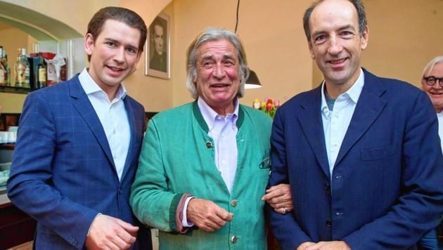 "Kanzler Sebastian Kurz, Michael Jeannée, ""Krone""-Herausgeber Christoph Dichand (Bild: Starpix/ Alexander TUMA)"