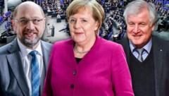 Haben sich auf die Fortführung einer großen Koalition geeinigt: Die Parteichefs Martin Schulz (SPD), Angela Merkel (CDU) und Horst Seehofer (CSU) (Bild: AP, AFP, APA/dpa, krone.at-Grafik)