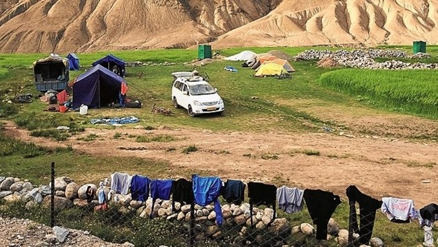 Geschlafen wird in Zelten unter freiem Himmel