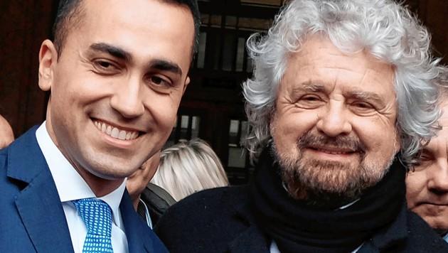 Luigi Di Maio (links) mit Beppo Grillo (rechts)