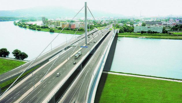 So sollen die Voestbrücke in Linz samt Bypässen künftig aussehen. (Bild: Asfinag)
