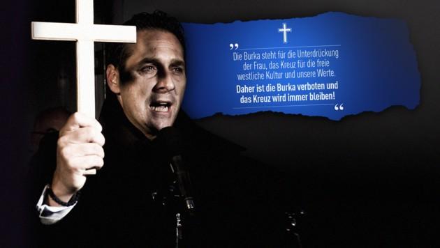 Bereits 2009 fiel Strache bei einer Demo gegen den Bau einer Moschee in Wien mit einem Kreuz in der Hand auf. (Bild: APA, twitter.com, krone.at-Grafik)