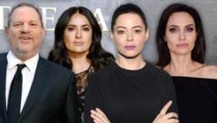 Die bekanntesten Anklägerinnen hinter dem Skandal um Harvey Weinstein: Salma Hayek, Rose McGowan, Angelina Jolie (Bild: AP, AFP, GETTY IMAGES NORTH AMERICA, krone.at-Grafik)