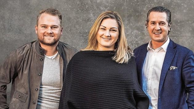 Katharina Wolf mit ihrem Mann Florian und Bruder Konstantin (links) (Bild: Kate & Kon)