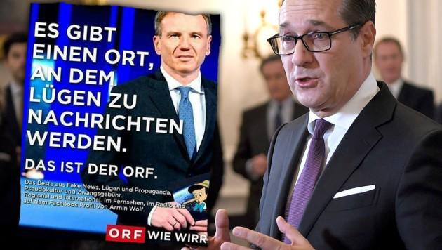 """Dieses als """"Satire"""" bezeichnete Posting über den ORF und Armin Wolf teilte Vizekanzler Heinz-Christian Strache auf seiner Facebook-Seite."""