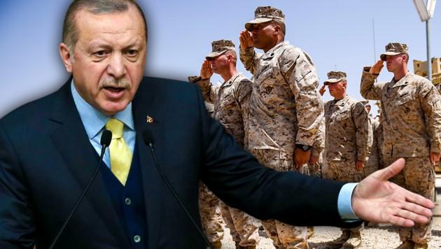 """Der türkische Staatschef Recep Tayyip Erdogan will den USA nötigenfalls zeigen, was eine """"osmanische Ohrfeige"""" ist. (Bild: AFP, krone.at-Grafik)"""