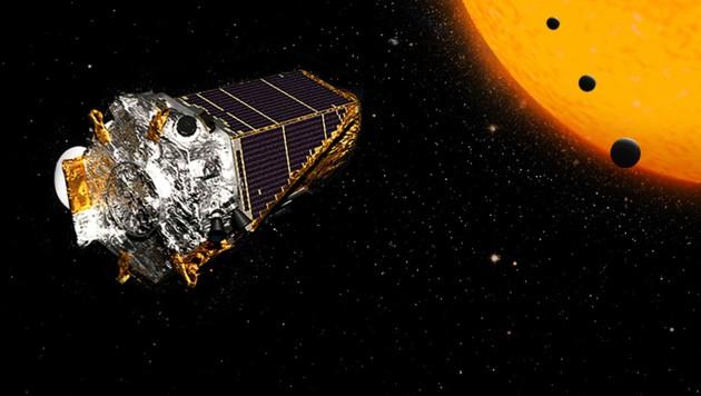 """Künstlerische Illustration: Das Weltraumobservatorium """"Kepler"""""""