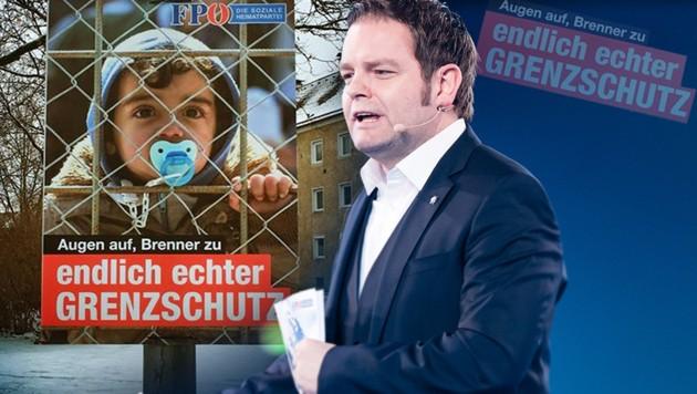 Der Tiroler FPÖ-Spitzenkandidat Markus Abwerzger ist ob der gefälschten Plakate entsetzt. (Bild: APA/EXPA/STEFAN ADELSBERGER, facebook.com, krone.at-Grafik)