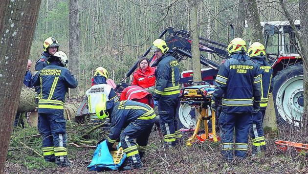 Der Landwirt wurde von der Feuerwehr befreit. (Bild: FOTOKERSCHI.AT/DRAXLER)