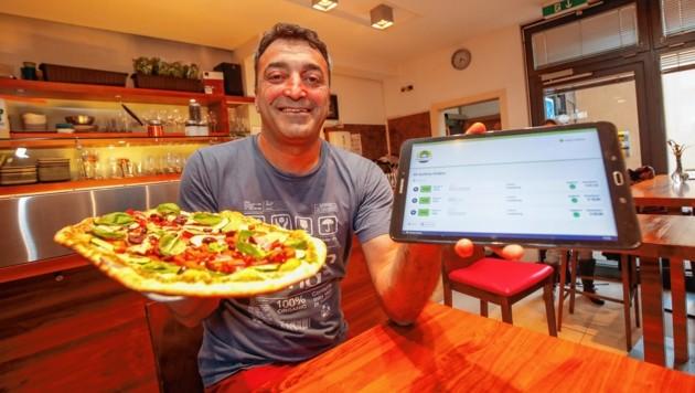 Murat Akyol von Organic Pizza lässt sein Essen von den Food Ninjas ausliefern.
