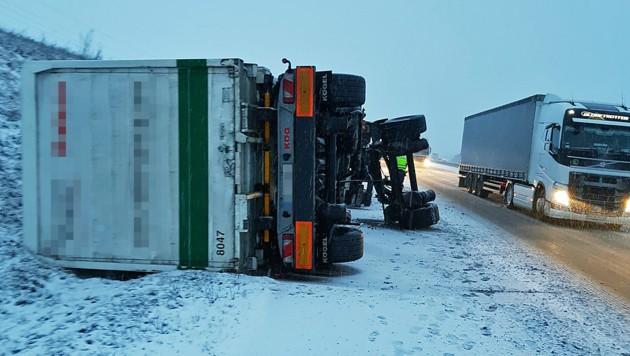 Lkw-Unfall auf der A5 Richtung Wien