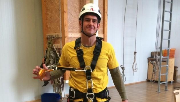 Der 27-jährige Hrusa in der betriebseigenen Kletterhalle der Industrial Alpinists.