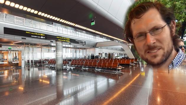 """Am Flughafen Heathrow verliert sich die Spur des 38-Jährigen. (Bild: stock.adobw.com, """"Krone"""", krone.at-Grafik)"""