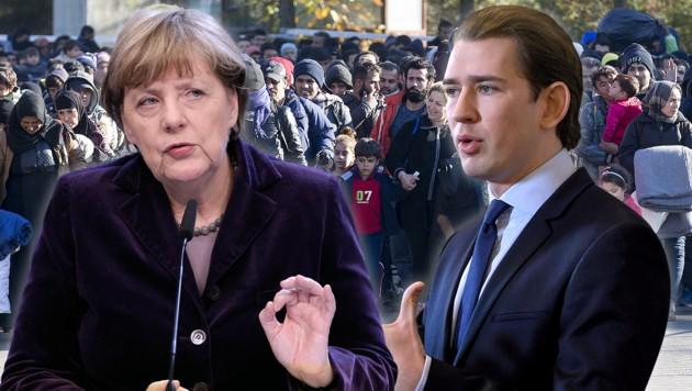 Kurz hat sich zurückhaltend zum Vorschlag von Merkel geäußert, die Verteilung von EU-Geldern mit der Aufnahme von Flüchtlingen zu verknüpfen. (Bild: APA/ERWIN SCHERIAU, AP, APA/ROLAND SCHLAGER, krone.at-Grafik)