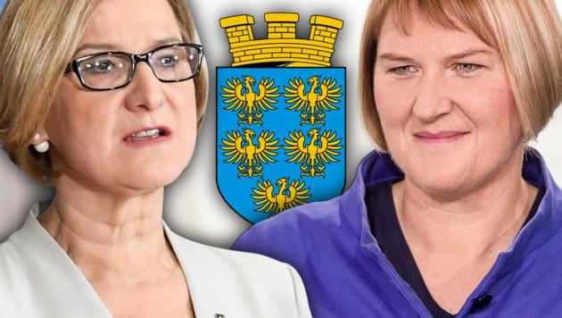 Landeshauptfrau Johanna Mikl-Leitner (ÖVP) und Helga Krismer, Landesparteichefin der Grünen (Bild: APA/GEORG HOCHMUTH, APA/HELMUT FOHRINGER, krone.at-Grafik)