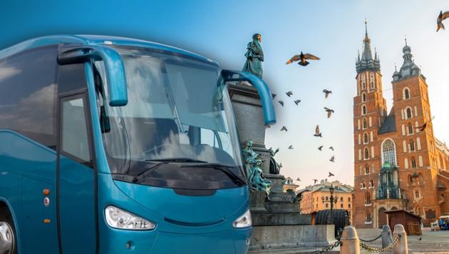 Zu einer Konferenz in die polnische Stadt Krakau wollte eine Leserin mit dem Fernbus fahren. (Bild: stock.adobe.com, krone.at-Grafik)