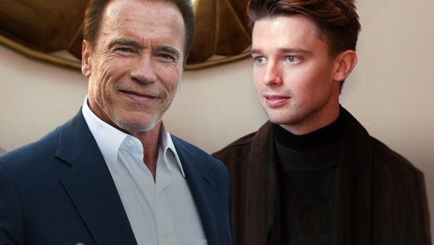 Arnold Schwarzenegger ist stolz auf Sohn Patrick. (Bild: AFP, krone.tv, krone.at-Grafik)