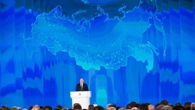 Russlands Präsident Putin hat bei seiner jährlichen Rede an die Nation im März 2018 die Entwicklung neuer Atomwaffen verkündet. (Bild: AP)