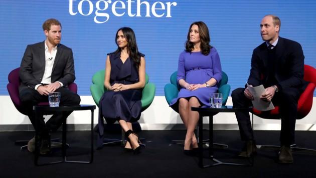Prinz Harry, Meghan Markle, Herzogin Kate und Prinz William (Bild: 2018 Getty Images)