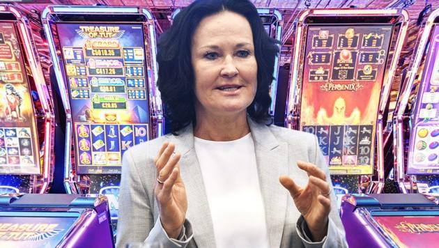 """Eva Glawischnig heuerte 2018 beim Glücksspielkonzern Novomatic an - als """"Verantwortungs- und Nachhaltigkeitsmanagerin"""". (Bild: APA/HERBERT PFARRHOFER, Novomatic, krone.at-Grafik)"""