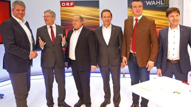 Kärntens Spitzenkandidaten: Gerhard Köfer (Team Kärnten), LH Peter Kaiser (SPÖ), Rolf Holub (Grüne), Christian Benger (ÖVP), Gernot Darmann (FPÖ) und Markus Unterdorfer-Morgenstern (NEOS)