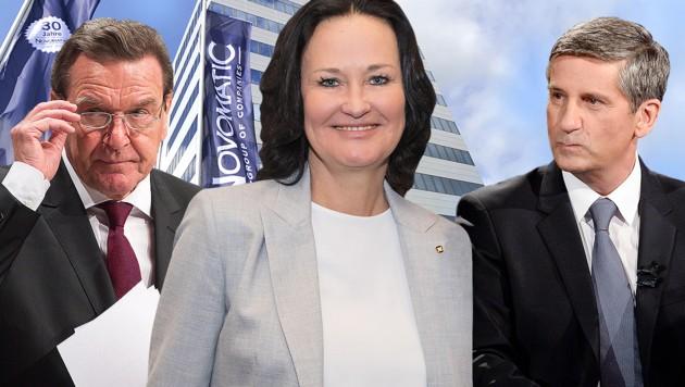 Neben Eva Glawischnig haben auch der deutsche Ex-Kanzler Gerhard Schröder sowie Österreichs Ex-ÖVP-Vizekanzler Michael Spindelegger nach ihrer politischen Karriere die Seiten gewechselt. (Bild: APA, dpa, Novomatic, krone.at-Grafik)