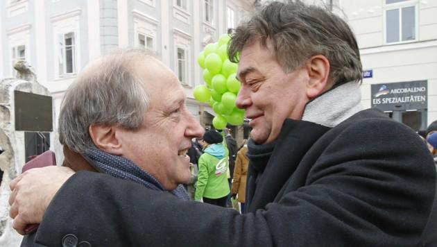 Spitzenkandidat Rolf Holub und Werner Kogler