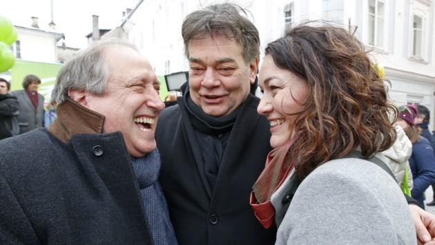 Kärnten-Spitzenkandidat Rolf Holub, Werner Kogler und Ingrid Felipe