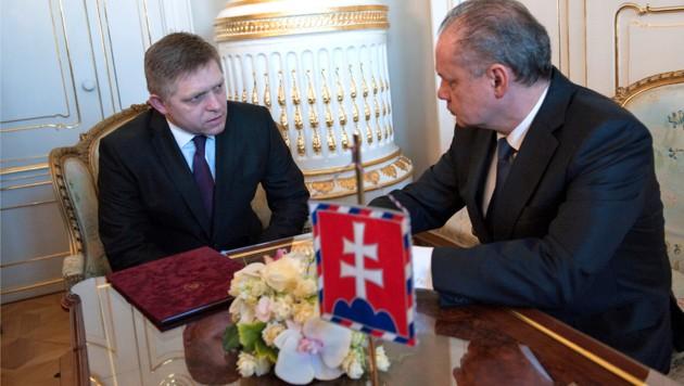 Gesprächsbedarf: Premier Fico (li.) und Präsident Kiska