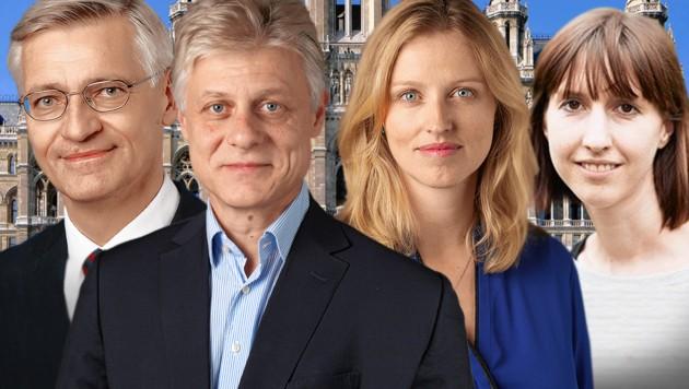 Von links: Werner Grebner (FPÖ), Gallus Vögel (SPÖ) Daniela Ecker-Stepp (SPÖ), Nikola Furtenbach (Grüne) (Bild: SPÖ, FPÖ, Grüne, Schaub-Walzer/PID, krone.at-Grafik)