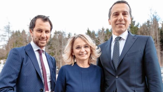 Tirols SP-Vize-Parteichef Georg Dornauer, SP-Chefin Elisabeth Blanik und SPÖ-Chef Christian Kern (Bild: EXPA/APA/picturedesk.com)