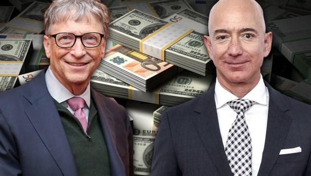 Bill Gates (links) und Jeff Bezos (Bild: GETTY IMAGES NORTH AMERICA, AFP, krone.at-Grafik)