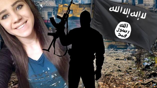So sah Sabina S. aus, bevor sie zum Islam konvertierte. (Bild: Interpol, APA/AFP/George OURFALIAN, thinkstockphotos.de, krone.at-Grafik)