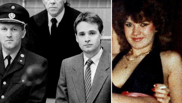 Tibor Foco beim Prozess 1987 und die 1986 ermoderte Prostituierte Elfriede Hochgatter