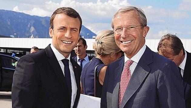 War schon da und kommt wieder: Frankreichs Emmanuel Macron mit Salzburgs Landeshauptmann Wilfried Haslauer (Bild: www.neumayr.cc)