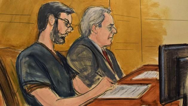 Ein Gerichtszeichner hat Martin Shkreli und seinen Anwalt Ben Brafmann gezeichnet.