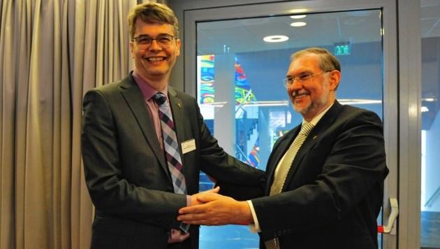 Wolfgang Rehner (links neben Hermann Miklas) wird der siebente steirische Superintendent