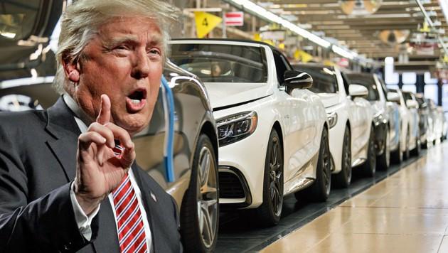 US-Präsident Donald Trump beklagt die unfaire Handelspolitik der EU und droht nun auch mit höheren Zöllen auf Autoimporte aus der Union. (Bild: APA/AFP/Thomas Kienzle, AP, krone.at-Grafik)