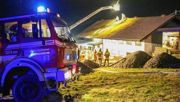Mit der Drehleiter aus Oberndorf wurden die Helfer aufs Dach gehievt.
