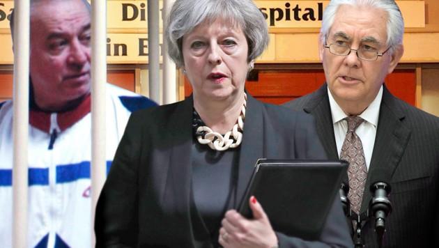 Der vergiftete Ex-Doppelagent Skripal, die britische Premierministerin May, US-Außenminister Tillerson (Bild: AP, krone.at-Grafik)