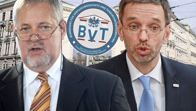 BVT-Chef Peter Gridling (li.) wurde von Innenminister Herbert Kickl suspendiert.