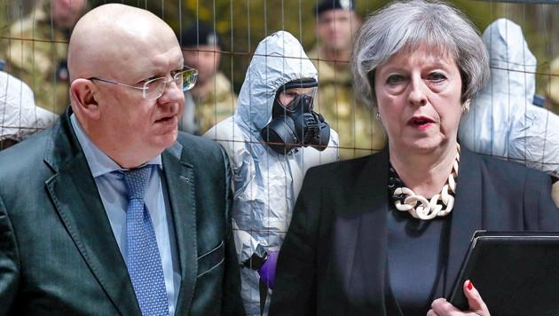"""Laut dem russischen UN-Botschafter Wassili Nebensja sorge die britische Premierministerin Theresa May für eine """"hysterische Atmosphäre"""". (Bild: AFP, AP, krone.at-Grafik)"""