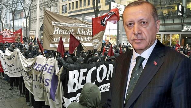Welchen Einfluss haben Erdogan-Sympathisanten auf Nichtregierungsorganisationen, die sich für Asylwerber-Rechte einsetzen? (Bild: APA/HANS PUNZ, APA/AFP/YASIN BULBUL)