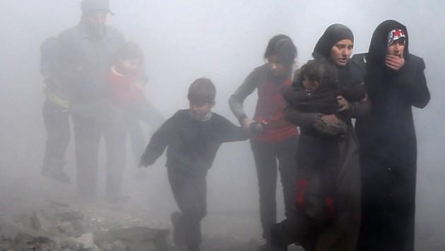 März 2018: Zivilisten bei der Flucht aus Ost-Ghouta