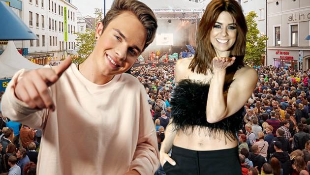 """Mikes Singer und Vanessa Mai sind beim """"Krone""""-Konzert (13. Juli) am MusikfestiWels. (Bild: Holl, APA-Picturedesk, Wels Stadtmarketing)"""