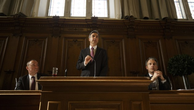 Vize-Bürgermeister Mario Eustacchio (FPÖ), Bürgermeister Siegfried Nagl (ÖVP) und Stadtrat Kurt Hohensinner (ÖVP)