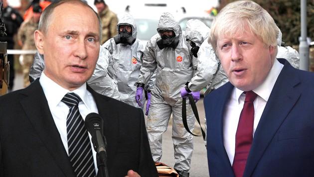 Der britische Außenminister Boris Johnson hat Russland Staatschef Wladimir Putin persönlich für den Giftanschlag von Salisbury verantwortlich gemacht. (Bild: AP, AFP, krone.at-Grafik)