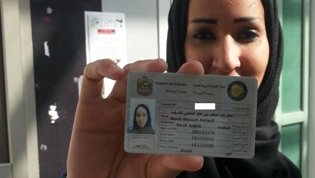 """""""Der Tag, an dem ich meinen Führerschein bekam"""", nannte Manal dieses Foto."""